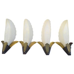 Original Art Deco Wall Light Sconces  - Set Of Four