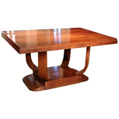 Original Art Deco Walnut Dining Table