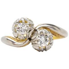 Original Art Nouveau 18 Karat Gold and Platinum by Pass Ring