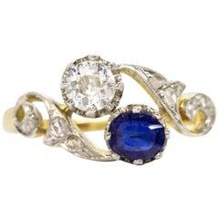 Original Art Nouveau 18 Karat Gold and Platinum Diamonds Ring