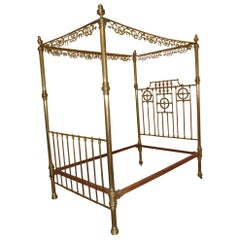 Original Art Nouveau Queen size 1890s Brass Four Poster Bed