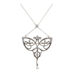 Original Art Nouveau Diamond Brooch Necklace