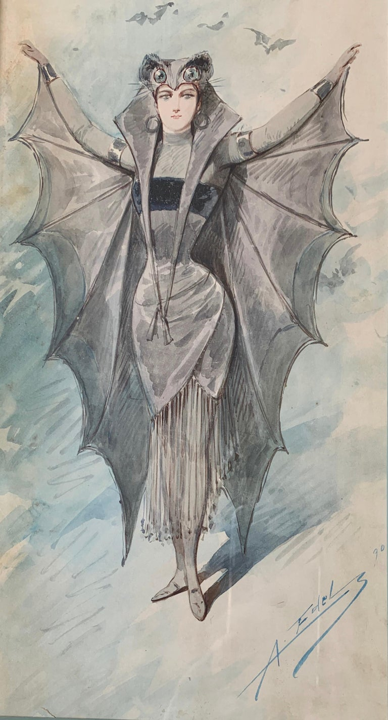 Fabulous antique original watercolor painting on paper from 1890 by famous deceased Italian painter and costume designer, Alfredo Edel Colorno (1856-1912) depicts a woman costumed with large, fantastical bat wings and a bat headdress, with her arms