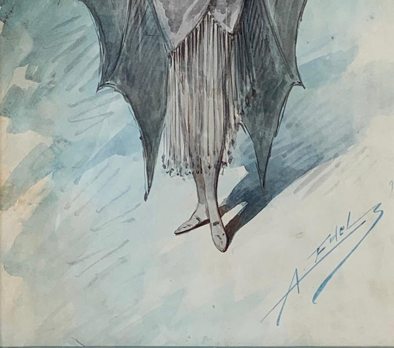 Hand-Painted Original Art Nouveau Watercolor Painting of a Bat Woman by Alfredo Edel Colorno  For Sale
