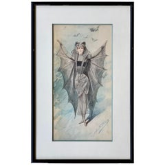 Original Art Nouveau Watercolor Painting of a Bat Woman by Alfredo Edel Colorno
