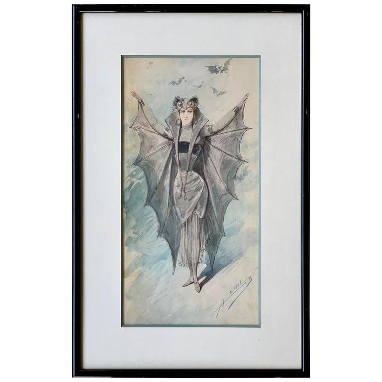 Original Art Nouveau Watercolor Painting of a Bat Woman by Alfredo Edel Colorno  For Sale
