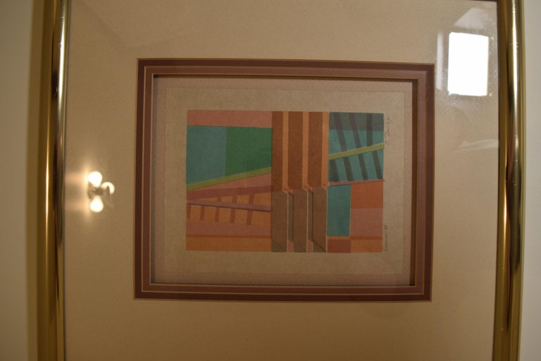 Modernist wall mounted print art work. Earth Tone pastels, by C. Dunlap for Harris Strong, circa 1970. Measures: 17.5