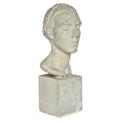 Artist Plaster Maquette, Classical Bust of a Young Woman, Circa 1930-1940