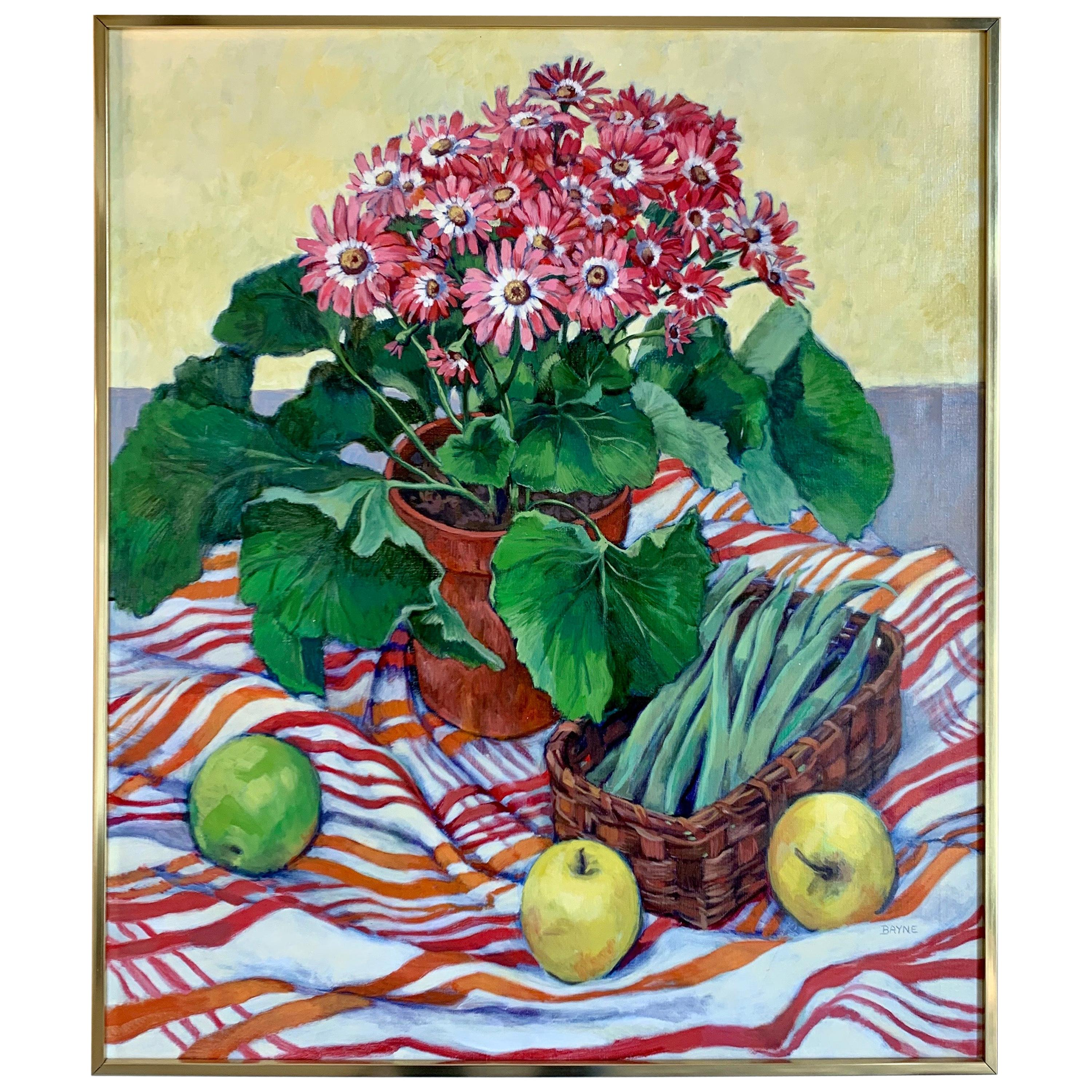 Original Signed Still Life of Fruits and Flowers Painting by Bayne