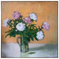 Original Artist Signed Still Life Flowers Oil Painting Schilling