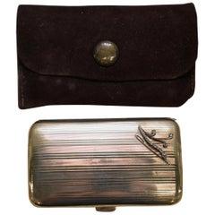 Original Asprey London Solid 9 Carat Gold and Diamond Cigarette Case 43.5 Grams