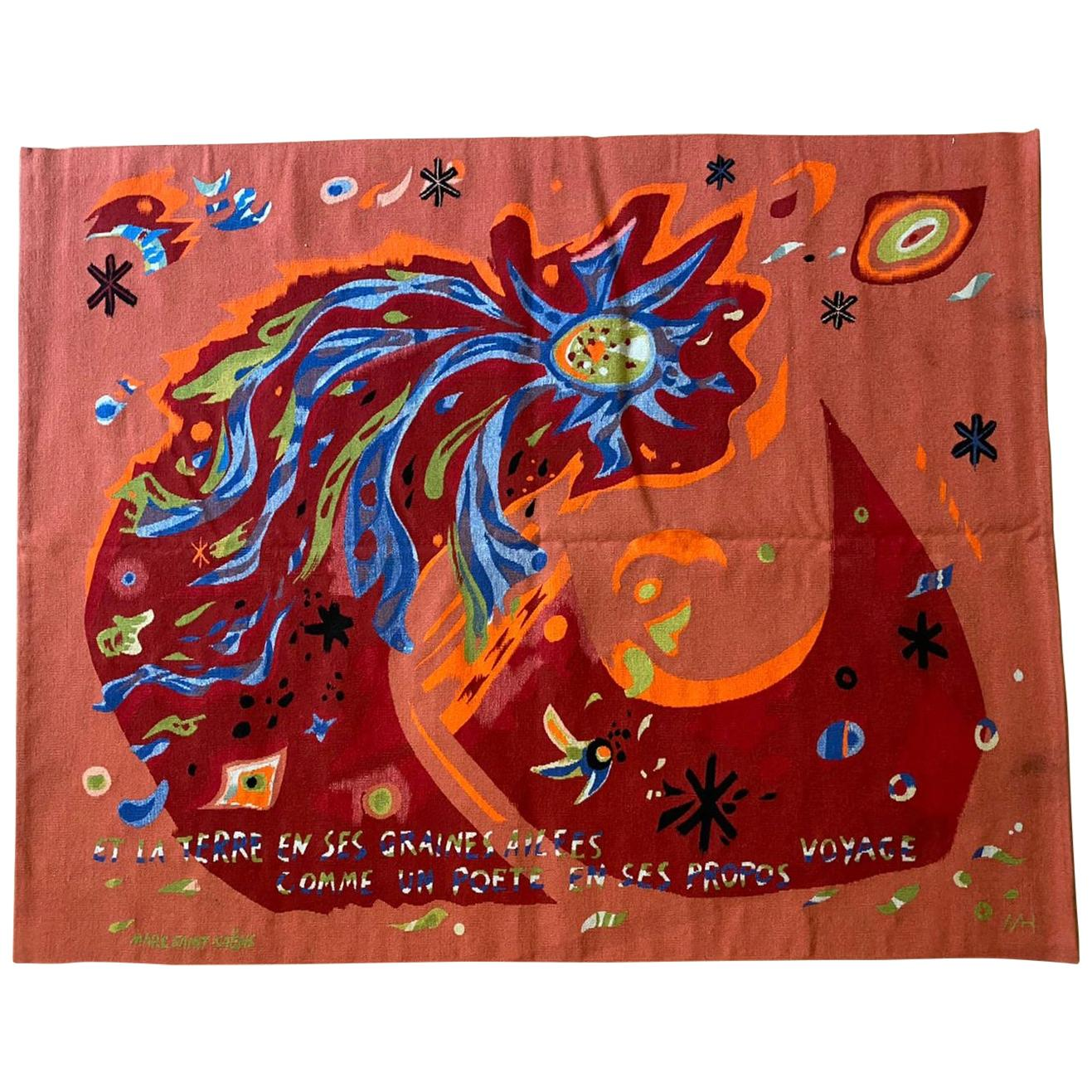 Original Aubusson Red Tapestry by Marc Saint-Saëns, Adventure