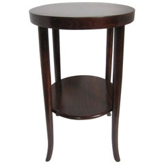 Original Austrian Small Round Bentwood Jungenstil Side Table with Oxblood Finish