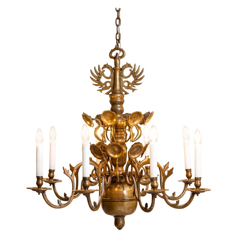 Original Austro, Hungary Polish Baroque Style Chandelier, 18th Century, 1780 For Sale