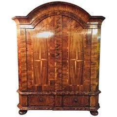Original Baroque Cabinet circa 1740 Walnut Beautiful Star Veneer on Both Doors