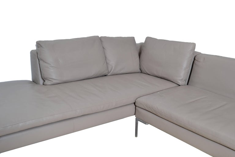 Mid-Century Modern Original B&B Italia Leather Sectional Sofa For Sale