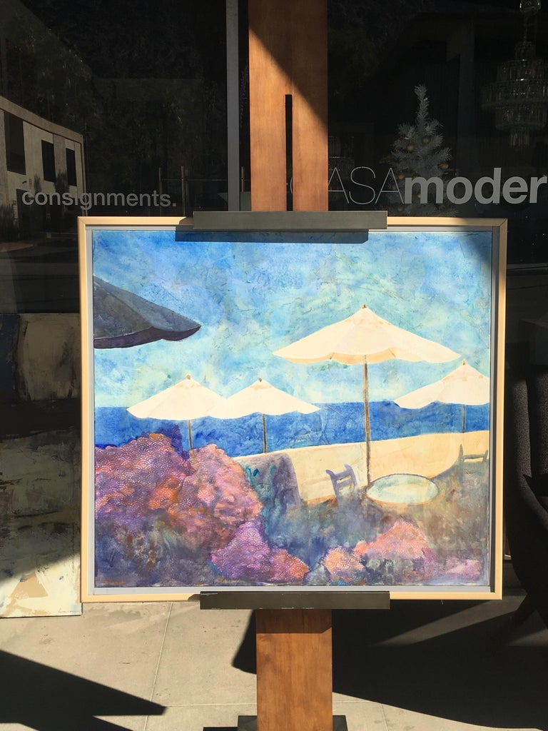 A beach scene painting by artist, B. Duzan done in 1991. obtains original wood frame. Modern, bright and very happy painting. From a local Palm Springs upscale estate.