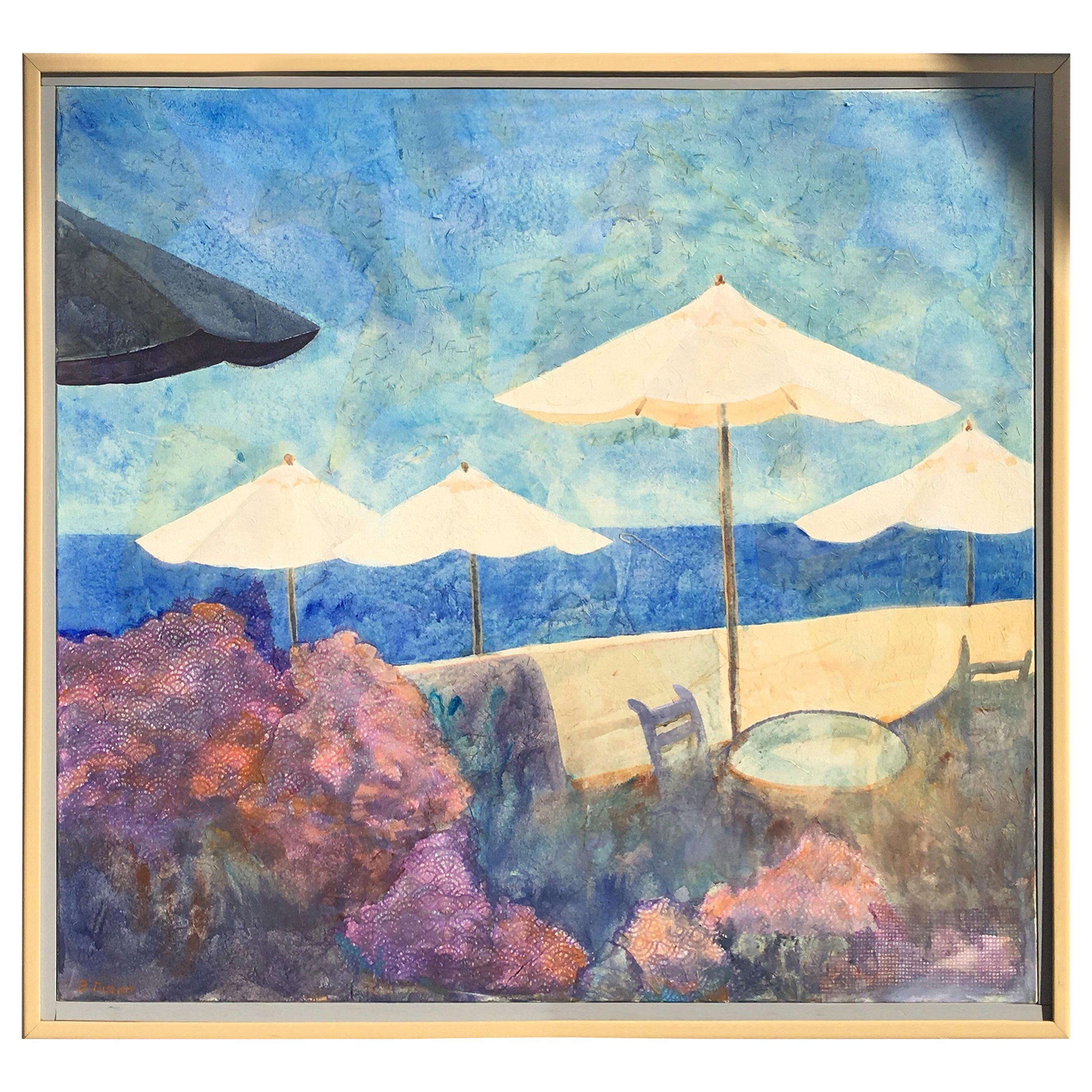 "Original Beach Scene Painting ""Laguna Beach"" by Duzan, 1991"