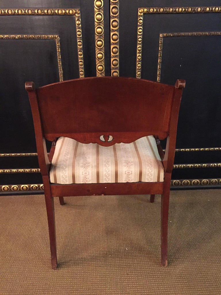 Mahogany 19th Century Empire Style a Russian Armchair For Sale