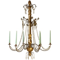 Original Biedermeier Chandelier 19th Century '1850' Carved and Gilded Six Flames