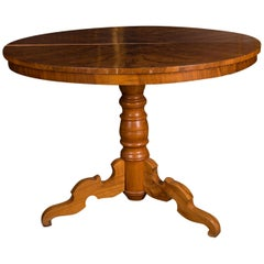 Original Biedermeier Table circa 1835 Walnut with Root Veneer
