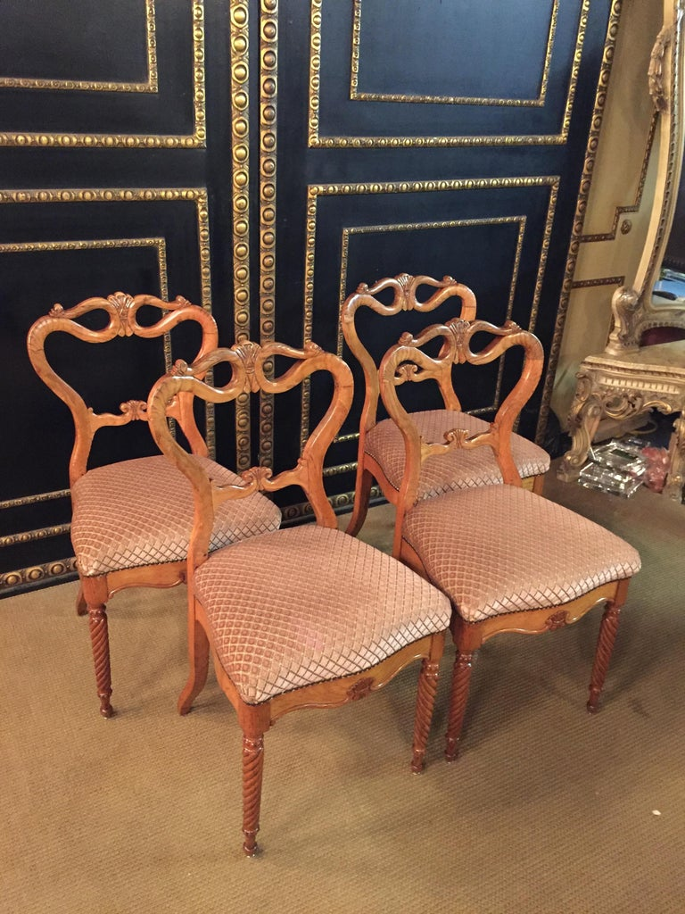 19th Century Original Biedermeyer Table with 4 Chairs circa 1850 Ashwood For Sale