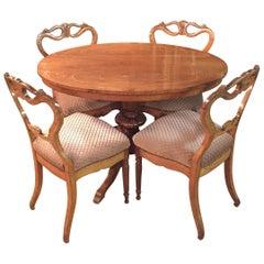 Original Biedermeyer Table with 4 Chairs circa 1850 Ashwood