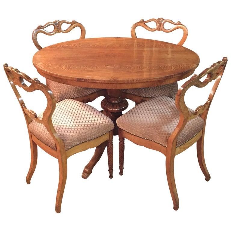 Original Biedermeyer Table with 4 Chairs circa 1850 Ashwood For Sale