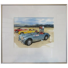 Original Bill Neale Austin Healey 3000 Automotive Watercolor Listed Artist AFAS