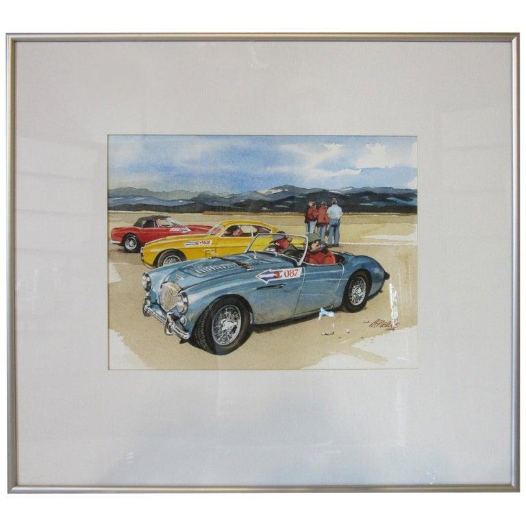 Original Bill Neale Austin Healey 3000 Automotive Watercolor Listed Artist AFAS For Sale