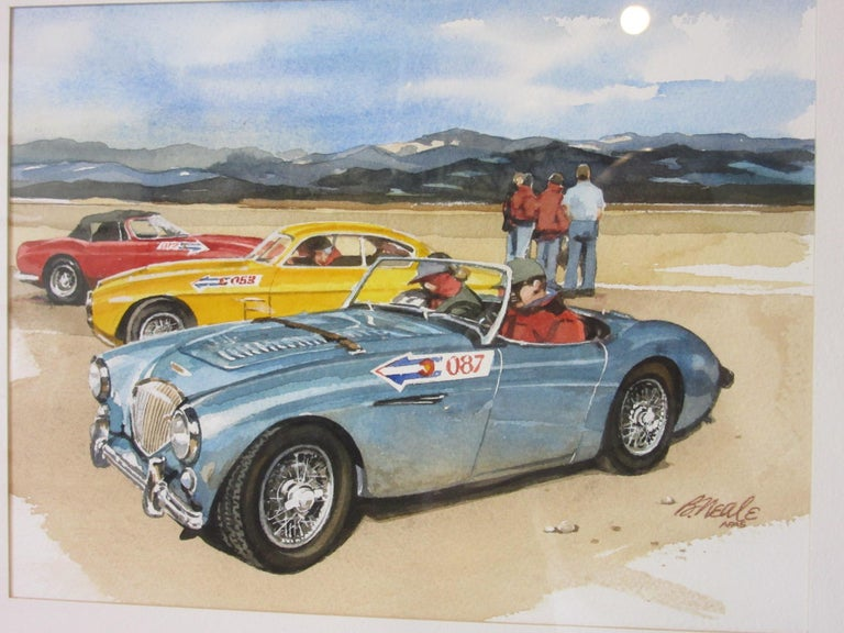 A fine art original automotive watercolor by the acclaimed Bill Neale who's works covered racing, historic cars and scenes from the drivers prospective. Bill's work has been featured in publications like Road & Track, Car & Driver, Cavalino magazine