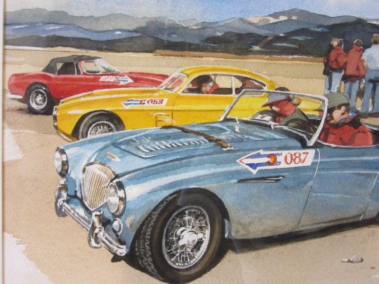 Modern Original Bill Neale Austin Healey 3000 Automotive Watercolor Listed Artist AFAS For Sale