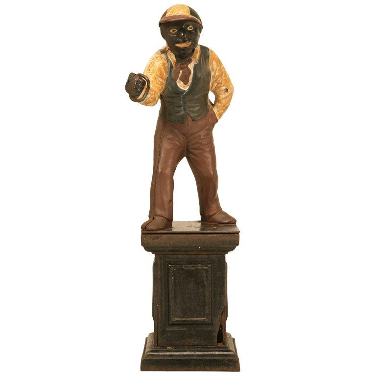"Original Black Americana ""Jocko the Jockey"" Cast Iron Hitching Post For Sale"