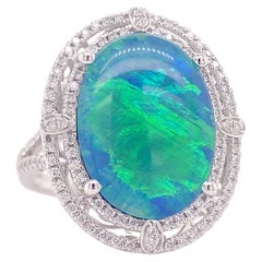 Original Black Opal Ring with Diamond Halo 14k White Gold 6.85 Carats Sizable