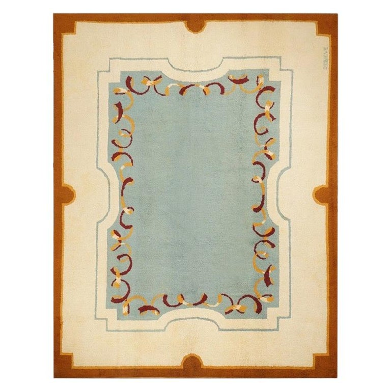 Original Blue Art Deco Rug by Robert Debieve, 1940 Wool