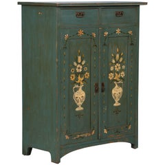 Original Blue Green Painted Antique Folk Art Swedish Cabinet