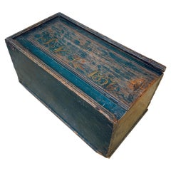 Original Blue Painted Swedish Bridal Folk Art Box Dated, 1850