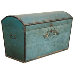 Original Blue Painted Swedish Dome Top Trunk, Dated 1838