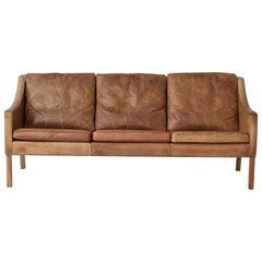 Original Borge Mogensen 2209 Sofa in Patinated Tan Leather, Denmark, 1960s-1970s