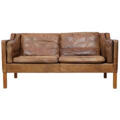 Original Borge Mogensen 2212 Sofa in Patinated Leather, Denmark, 1960s-1970s