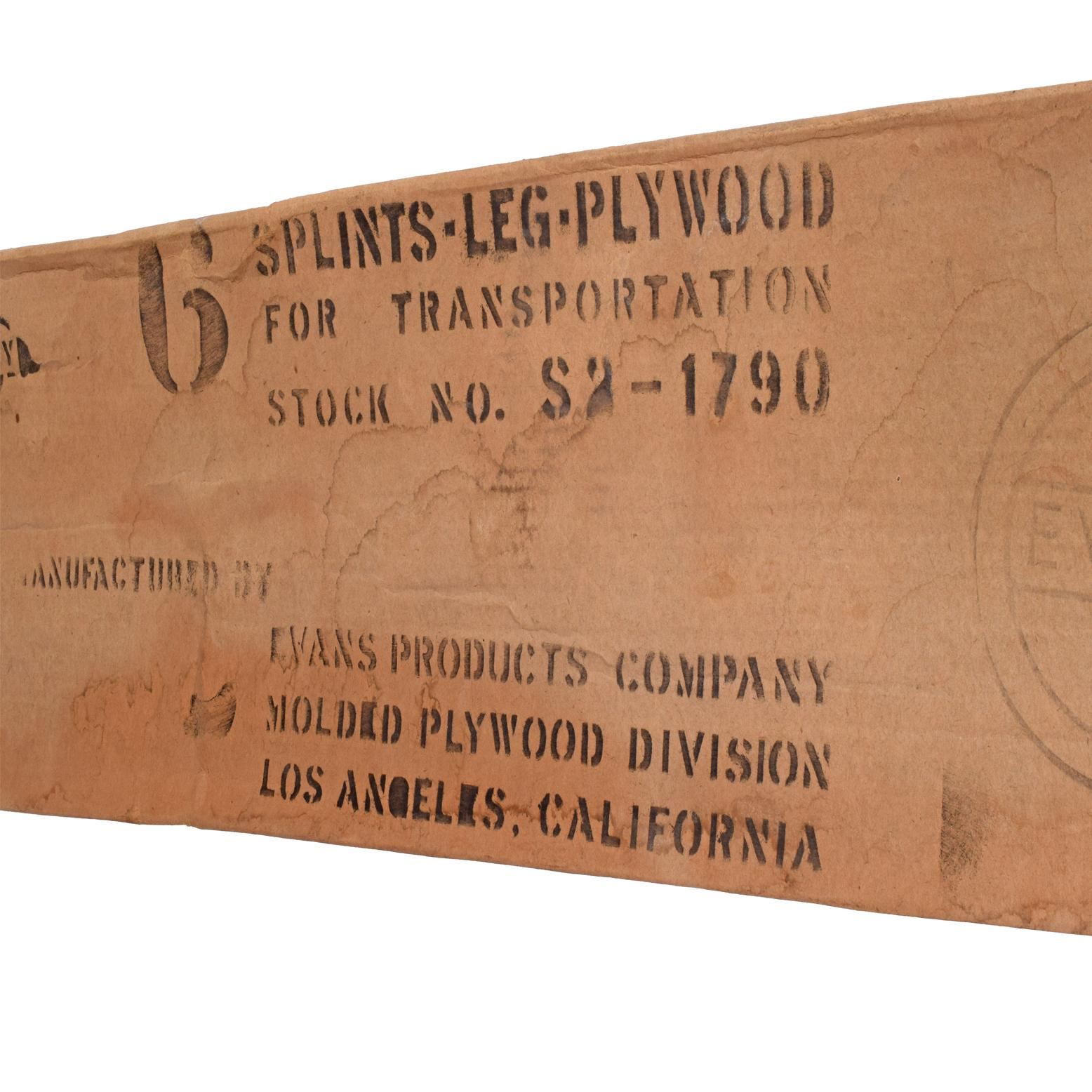 Original Box with World War ii Leg Splint by Charles Eames for Evans Plywood
