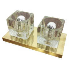 Original Brass Modernist Peill & Putzler 1970s Ice Cubes Glass Wall Sconce