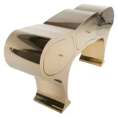 Original Brass Sculpted Cabinet, Werner Neumann