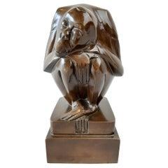 Original Bronze Monkey by Dutch Artist Jan Altorf 1920s Art Deco