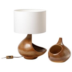 Original Brown Ceramic Table Lamp by Fred Stocker 20th Century Midcentury Design