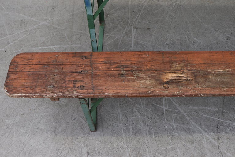 Original Brown German Beer Garden Table and Bench Set For Sale 3