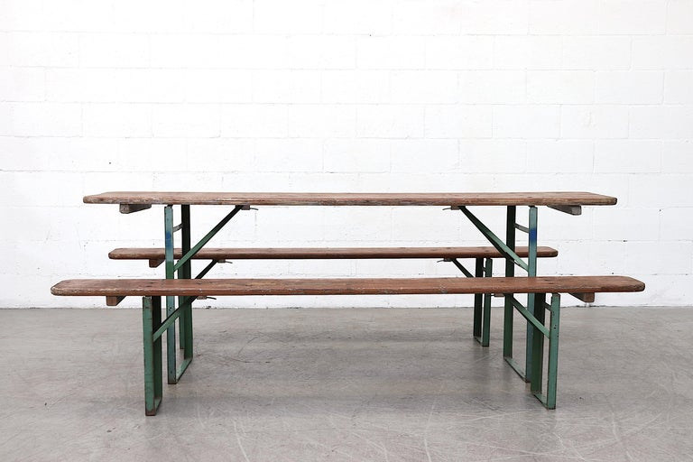 Mid-Century Modern Original Brown German Beer Garden Table and Bench Set For Sale