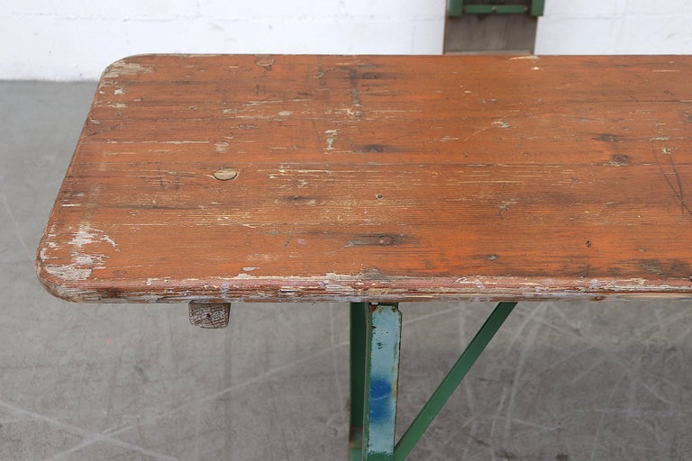 Original Brown German Beer Garden Table and Bench Set In Good Condition For Sale In Los Angeles, CA