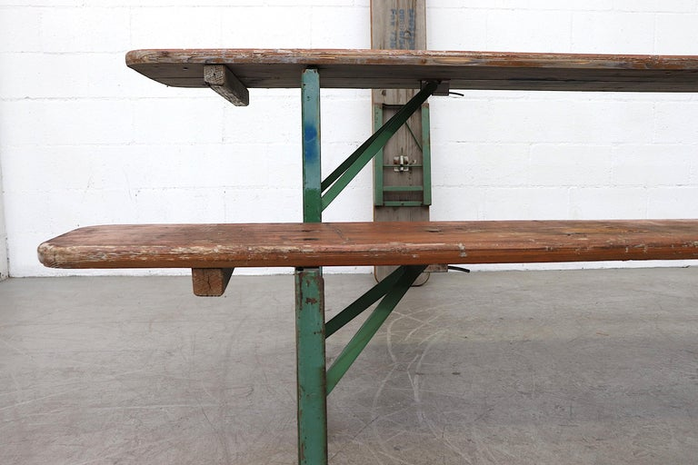 Late 20th Century Original Brown German Beer Garden Table and Bench Set For Sale