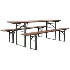 Original Brown German Beer Garden Table and Bench Set